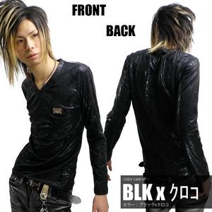 Luxury Black(ラグジュアリーブラック) メタルプレートネーム総柄シャイニーロンTee クロコ Fサイズ