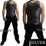 Luxury Black(ラグジュアリーブラック) スターUネックタンクトップ SLV(シルバー) Mサイズ