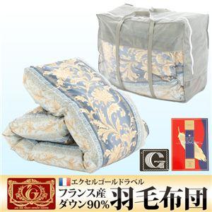 【エクセルゴールドラベル】フランス産ダウン90%羽毛布団 ブルー