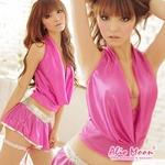 スパンコール付き ピンクのセクシーミニスカ コスプレセット