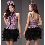 コスプレ 2011新作 ピンクチェック&パニエスカート ドレス コスチューム