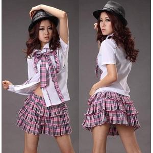 コスプレ 2011新作 ピンクチェックの可愛い制服 コスチューム