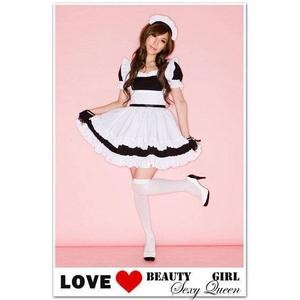 コスプレ 2011新作 黒の可愛い メイド コスチューム4点セット