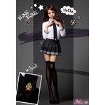 コスプレ/セーラー服/制服/女子高生/長袖 /白 黒/衣装/コスチューム/z1166