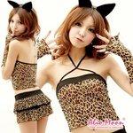 豹柄バニーガールコスチューム5点/コスプレ/コスチューム/衣装 /f449