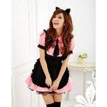 ピンクのメイドコスチューム3点セット/メイド服/コスプレ/コスチューム/衣装/ウェイトレス/z677