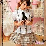 お嬢様系私立制服☆茶色チェックスクールガール☆学生服コスプレ/コスチューム/コスプレ/衣装/ z694