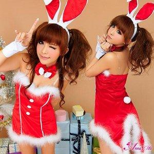 【クリスマスコスプレ】タキシード風サンタバニーコスチューム5点セット/コスプレ/コスチューム/衣装/c371