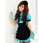 ブルーのメイドコスチューム3点セット/メイド服/コスプレ/コスチューム/衣装/ウェイトレス/c311
