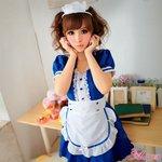 ブルーの可愛いメイドさんコスチュームセット/メイド服 /キュート/コスプレ/コスチューム/衣装/z758