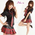 黒×赤チェック ミニスカ女子制服コスプレ/コスプレ/コスチューム/衣装/c249