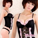 黒×ピンクリボンコルセット&Tバック/コスプレ/コスチューム/セクシー/ランジェリー/衣装/下着/f246