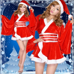 0903赤/着物サンタコスチューム3点セット/クリスマス/コスプレ/コスチューム/パーティ/衣装/仮装