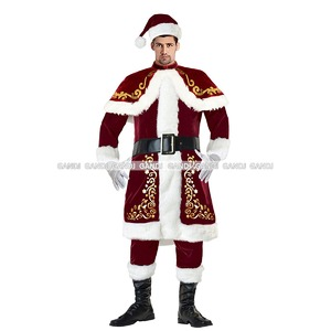 【クリスマス/最豪華/男性/メンズ/サンタ/サンタクロース衣装/クリスマス衣装/コスプレ/コスチューム/イベント/パーティ/仮装】9465 レッド