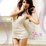 コスプレ 2011新作 胸元刺繍ホワイトランジェリー4点セット コスチューム z436