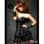 2012新作 ふんわりスカートのゴスロリ調ブラックドレス/コスプレ コスチューム z671