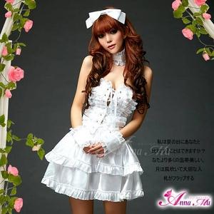 2012新作 ふんわりスカートのゴスロリ調ホワイトドレス/コスプレ コスチューム z672