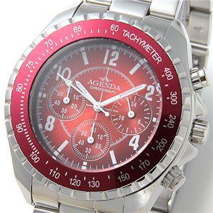 AGENDA(アジェンダ) 腕時計 10気圧防水 クロノグラフ ウォッチ AG-8041-01 レッド