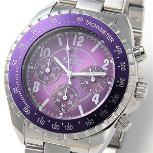 AGENDA(アジェンダ) 腕時計 10気圧防水 クロノグラフ ウォッチ AG-8041-03 パープル