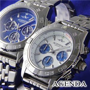 AGENDA(アジェンダ) 腕時計 10気圧防水 クロノグラフ ウォッチ AG-8045-01 ホワイト