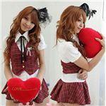 赤チェックのキュート女子高生制服コスチューム3点セット/コスプレ/C424-1