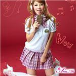 コスプレ 2012年新作 ベスト付ピンクチェック女子高生制服 コスチューム/z911/衣装