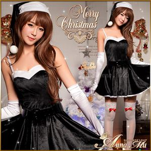 サンタコスプレ コスチューム ドレス ワンピース c335 黒