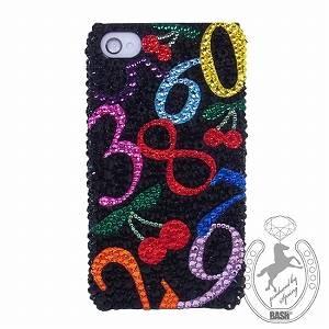 デコキラキラSoftBank/au ナンバー iPhone4S チェリーマルチカラーブラック