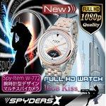 【超小型カメラ】 【小型ビデオカメラ】腕時計 腕時計型 スパイカメラ スパイダーズX (W-772) フルハイビジョン 動体検知 16GB内蔵