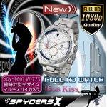 【超小型カメラ】 【小型ビデオカメラ】腕時計 腕時計型 スパイカメラ スパイダーズX (W-773) フルハイビジョン 動体検知 16GB内蔵