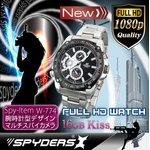 【超小型カメラ】 【小型ビデオカメラ】腕時計 腕時計型 スパイカメラ スパイダーズX (W-774) フルハイビジョン 動体検知 16GB内蔵