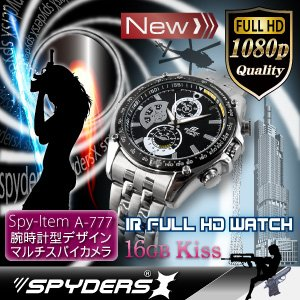 腕時計型 スパイカメラ スパイダーズX (W-777) フルハイビジョン 赤外線 16GB内蔵【防犯用】【超小型カメラ】 【小型ビデオカメラ】