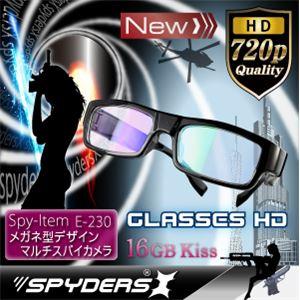 メガネ型 スパイカメラ スパイダーズX (E-230) センターレンズ 16GB内蔵【防犯用】【超小型カメラ】 【小型ビデオカメラ】