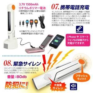 手回し発電ラジオ付マルチソーラーライト(FM/携帯充電/サイレン付)