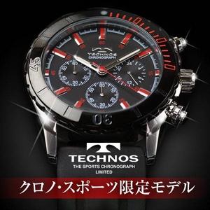 TECHNOS(テクノス) メンズ腕時計 クロノ・スポーツ T2163SR 限定モデル ブラック/レッド
