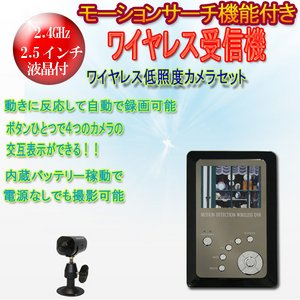 【カメラ1台セット】モーションセンサー付ワイヤレス受信機&ワイヤレスCCDカメラセット