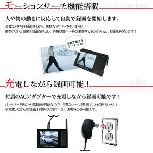 赤外線LED30個搭載ワイヤレスカメラ&液晶付きワイヤレス受信機セット(DV01-CM812C)