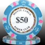MONTECARLO モンテカルロ・ポーカーチップ<50>水色 25枚セットの詳細ページへ