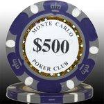 MONTECARLO モンテカルロ・ポーカーチップ<500>青紫 25枚セットの詳細ページへ