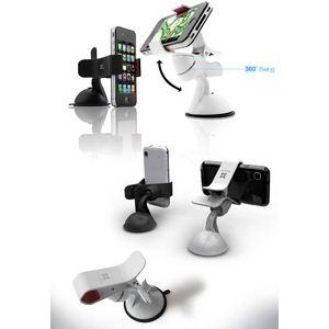 E393★スマートフォンホルダー ★iPhone & 各スマートフォン対応★ 車載・卓上用 カーマウント-White
