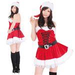 【クリスマスコスプレ】レディースサンタ ショート レースアップ L