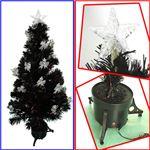 【クリスマス】150cm LEDファイバーブラッククリスマスツリー(リボン付きランタン/シルバー) T513-150