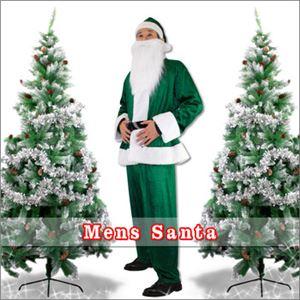 【クリスマスコスプレ】メンズサンタ Men's Santa costume GREEN VELVET グリーン