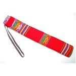 【QUENA SOFT CASE RED AGUAYO】民族楽器ケーナ用の布・ソフトケース アンデス織物のアワイヨ柄 レッド(赤)★ペルー製の詳細ページへ