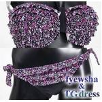 2012年新作水着♪胸元サイドリボン付き花柄フリフリブラ ホルターネック2ピースビキニ
