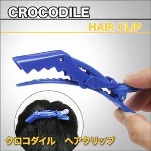 ギザギザワニの可愛いヘアクリップ!しっかり留まる!クロコダイルヘアークリップ 5入り 全5色 青 1セット(5入)