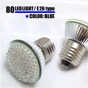 省エネ長寿命 高輝度小型LED使用 E26規格LED80灯電球 各色 青 1点