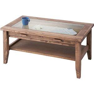 センターテーブル 長方形 木製(パイン/オイル仕上げ) 強化ガラス天板 東谷 CFS-842