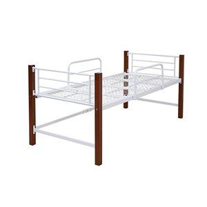 シングルベッド 高さ 60 木製 支柱 パイプベッド 天然木 頑丈 ミドル ロフトベッド 丈夫 ホワイトブラウン IRI-1041-WHBR