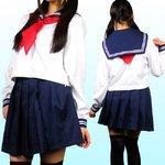 ★清純派☆女子高生セーラー服・長袖【コスプレ/制服】 レッドMサイズ